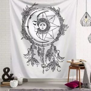 Large White Wall Art Tapestry Dreamcatcher Moon